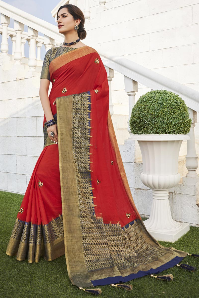 Office Party Style Red Color Chic Weaving Work Saree In Fancy Fabric