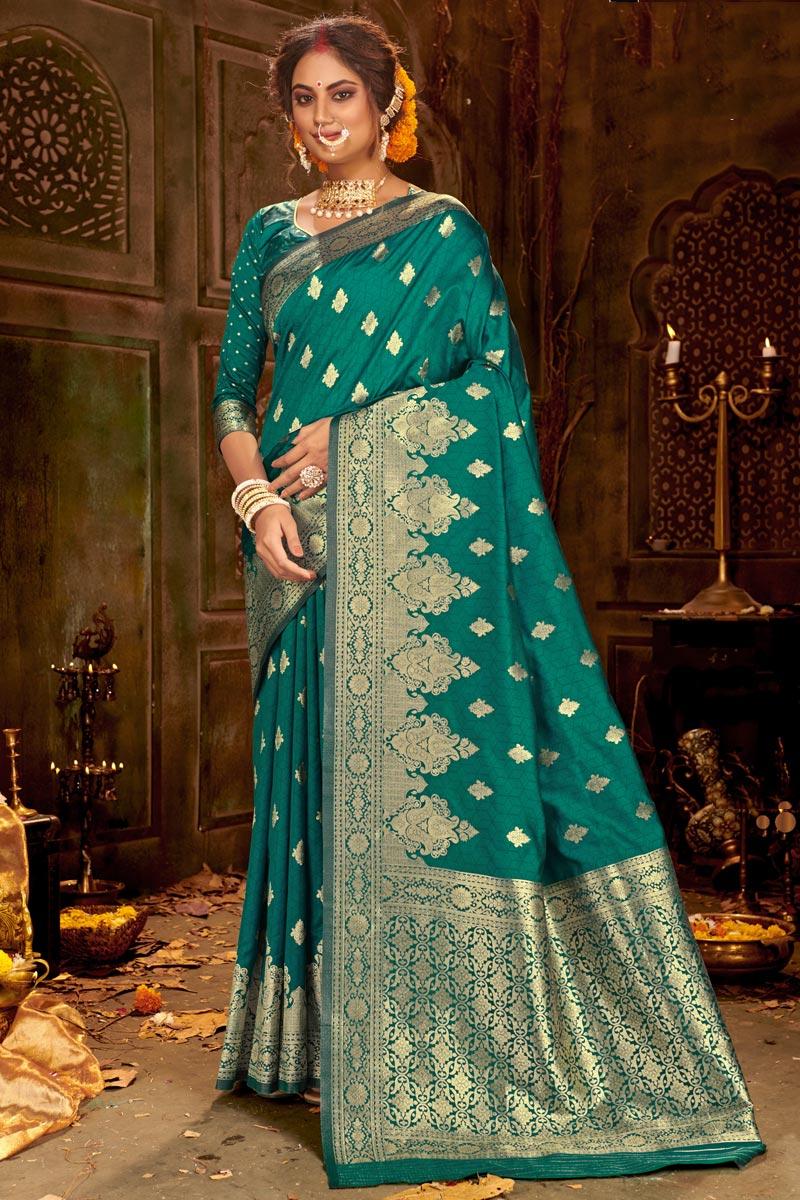 Puja Wear Teal Color Chic Art Silk Fabric Weaving Work Saree