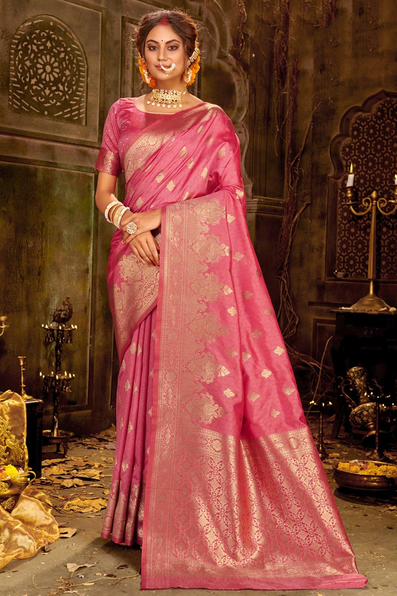 Puja Wear Pink Color Chic Weaving Work Saree In Art Silk Fabric