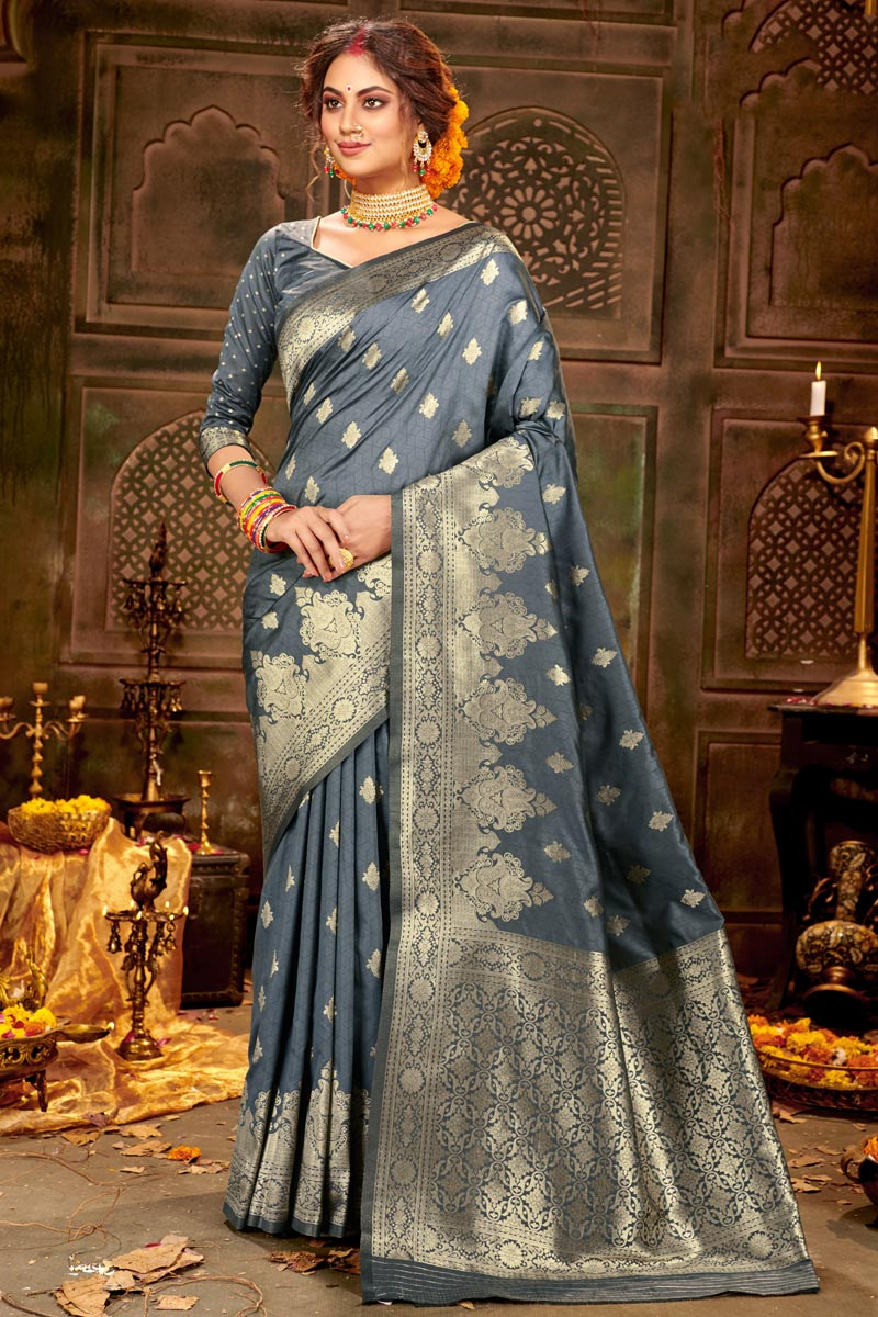 Puja Wear Art Silk Fabric Chic Grey Color Weaving Work Saree