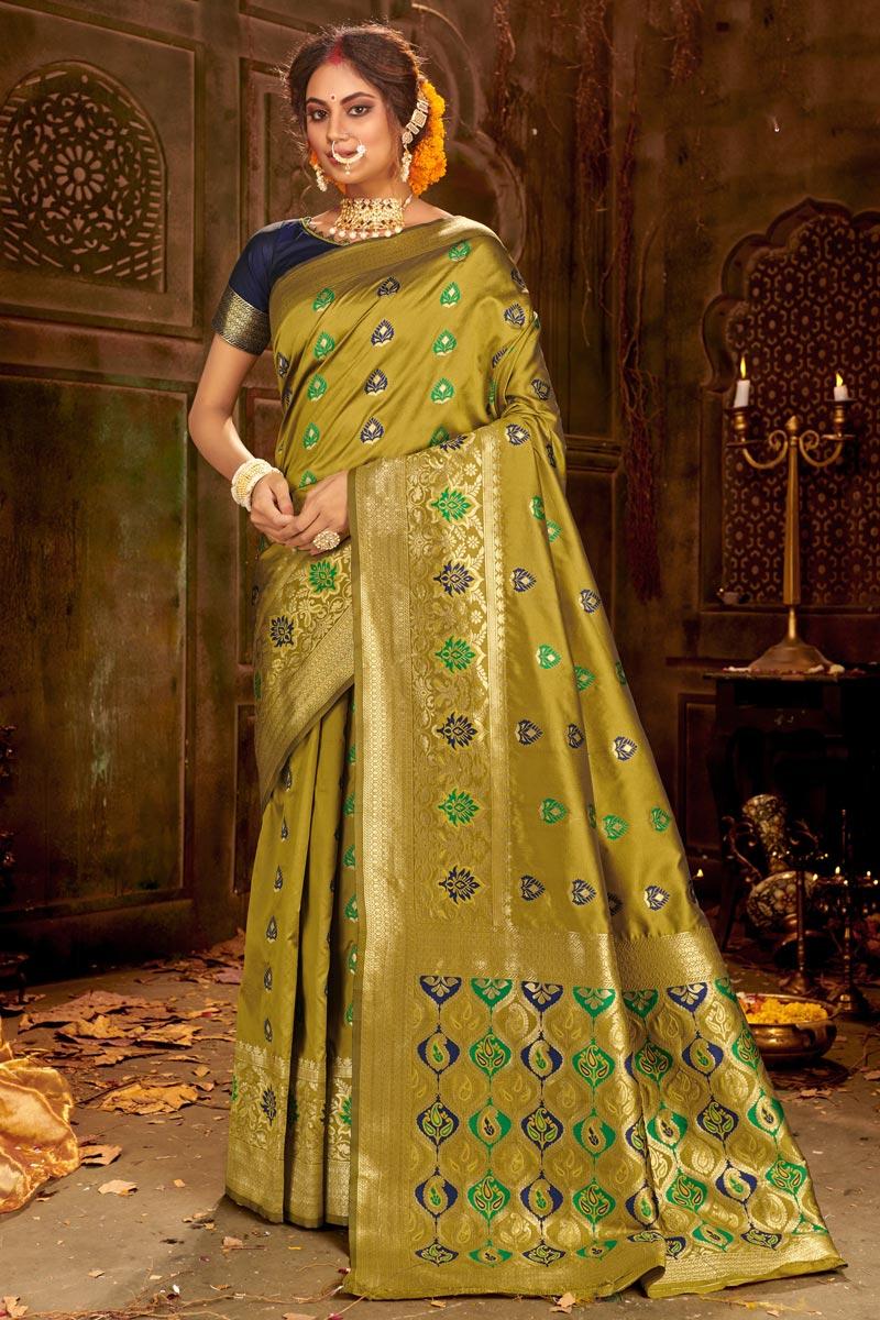 Puja Wear Art Silk Fabric Chic Green Color Weaving Work Saree