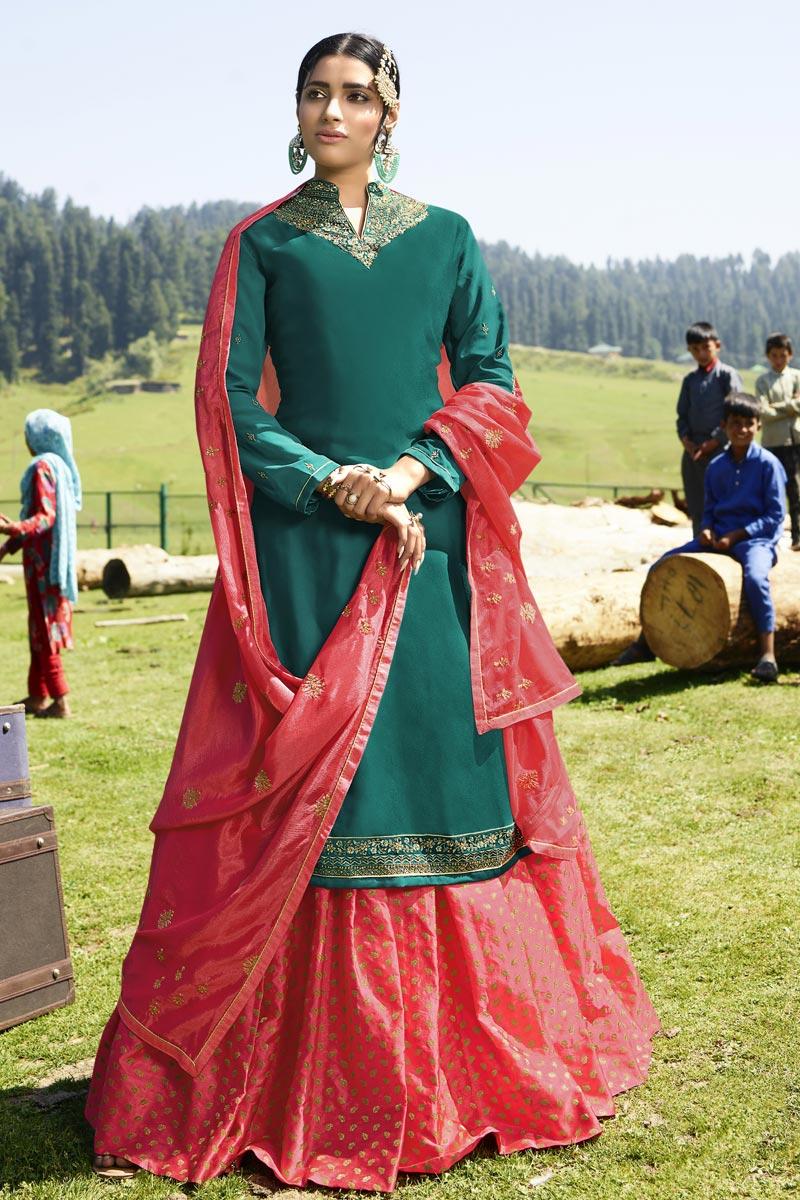 Georgette Satin Designer Sangeet Wear Embroidered Teal Sharara Top Lehenga