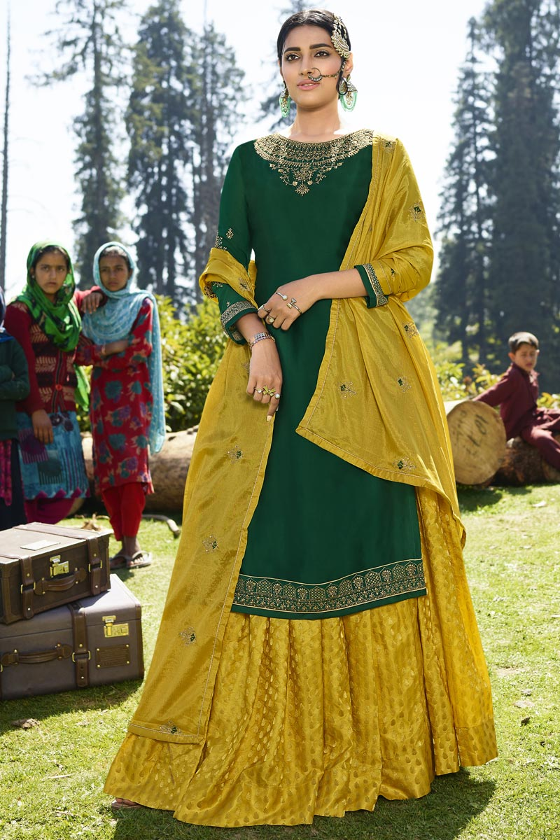 Designer Dark Green Embroidered Sangeet Wear Sharara Top Lehenga In Georgette Satin