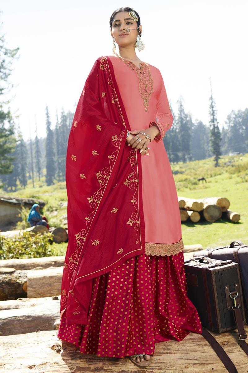 Georgette Satin Designer Sangeet Wear Pink Embroidered Sharara Top Lehenga