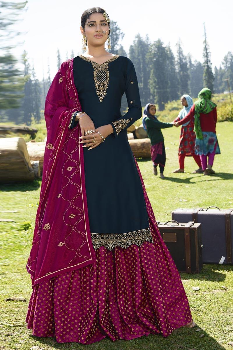Designer Sangeet Wear Georgette Satin Embroidered Sharara Top Lehenga In Navy Blue