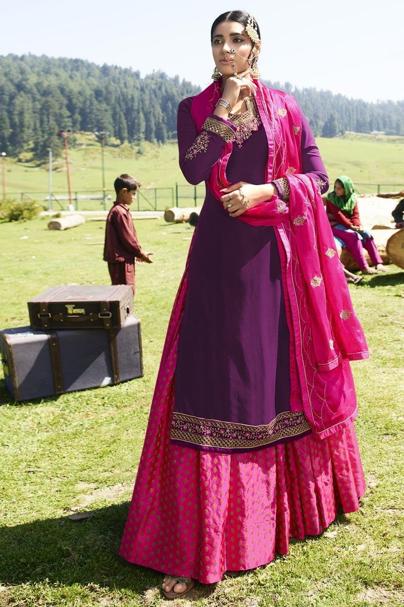 Purple Embroidered Designer Sangeet Wear Sharara Top Lehenga In Georgette Satin