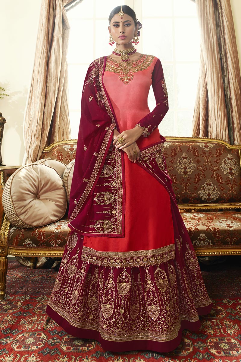Designer Pink Color Embroidered Sangeet Wear Sharara Top Lehenga In Georgette Satin Fabric