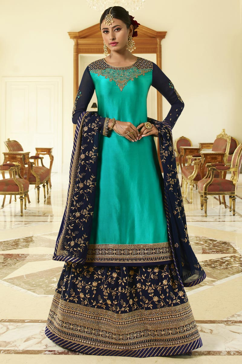 Georgette Satin Fabric Designer Sangeet Wear Cyan Color Embroidered Sharara Top Lehenga