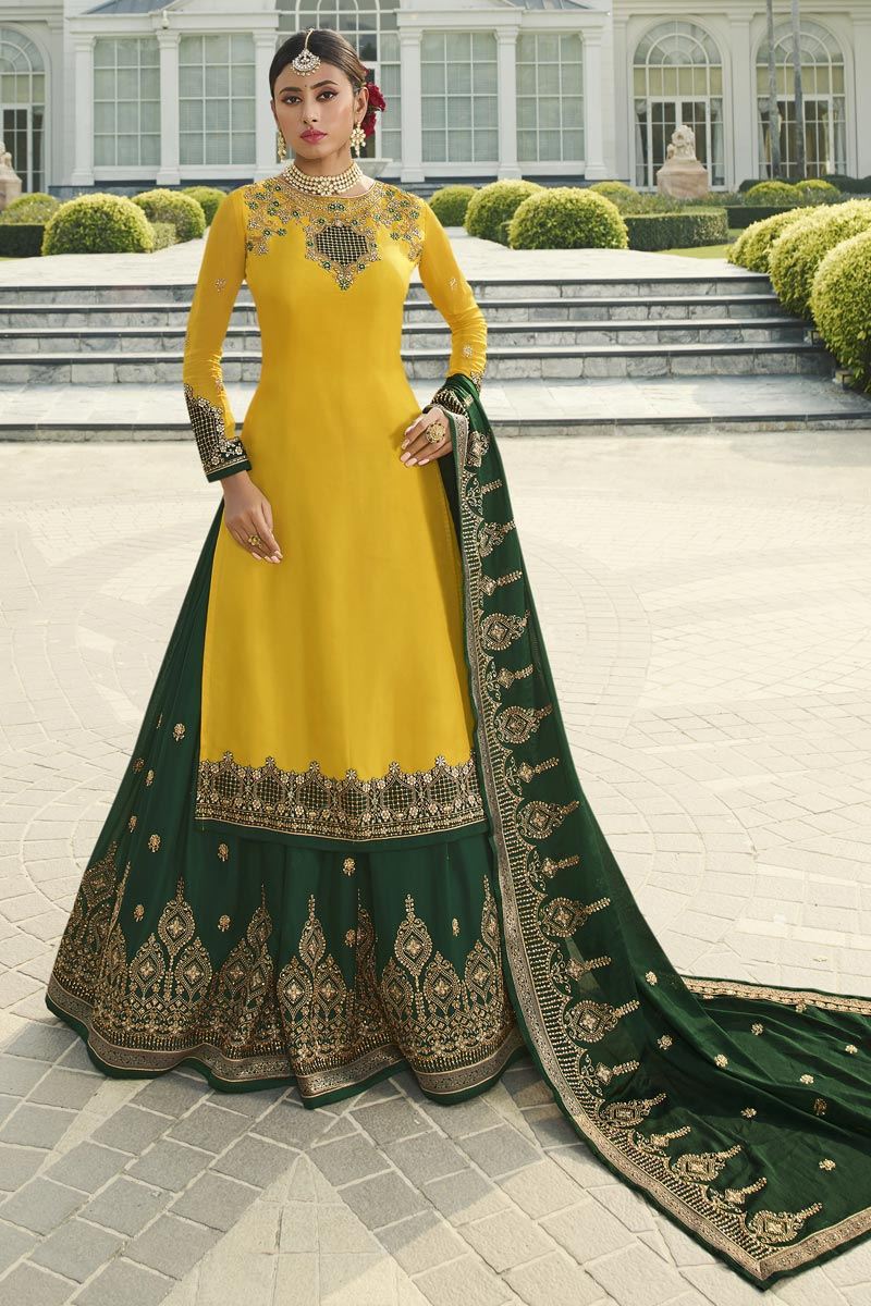 Designer Sangeet Wear Georgette Satin Fabric Embroidered Sharara Top Lehenga In Mustard Color