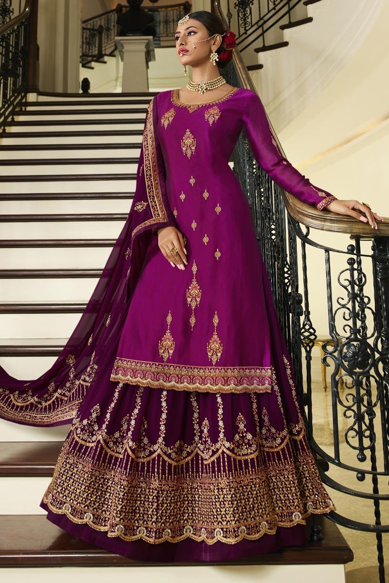 Purple Color Embroidered Designer Sangeet Wear Sharara Top Lehenga In Georgette Satin Fabric