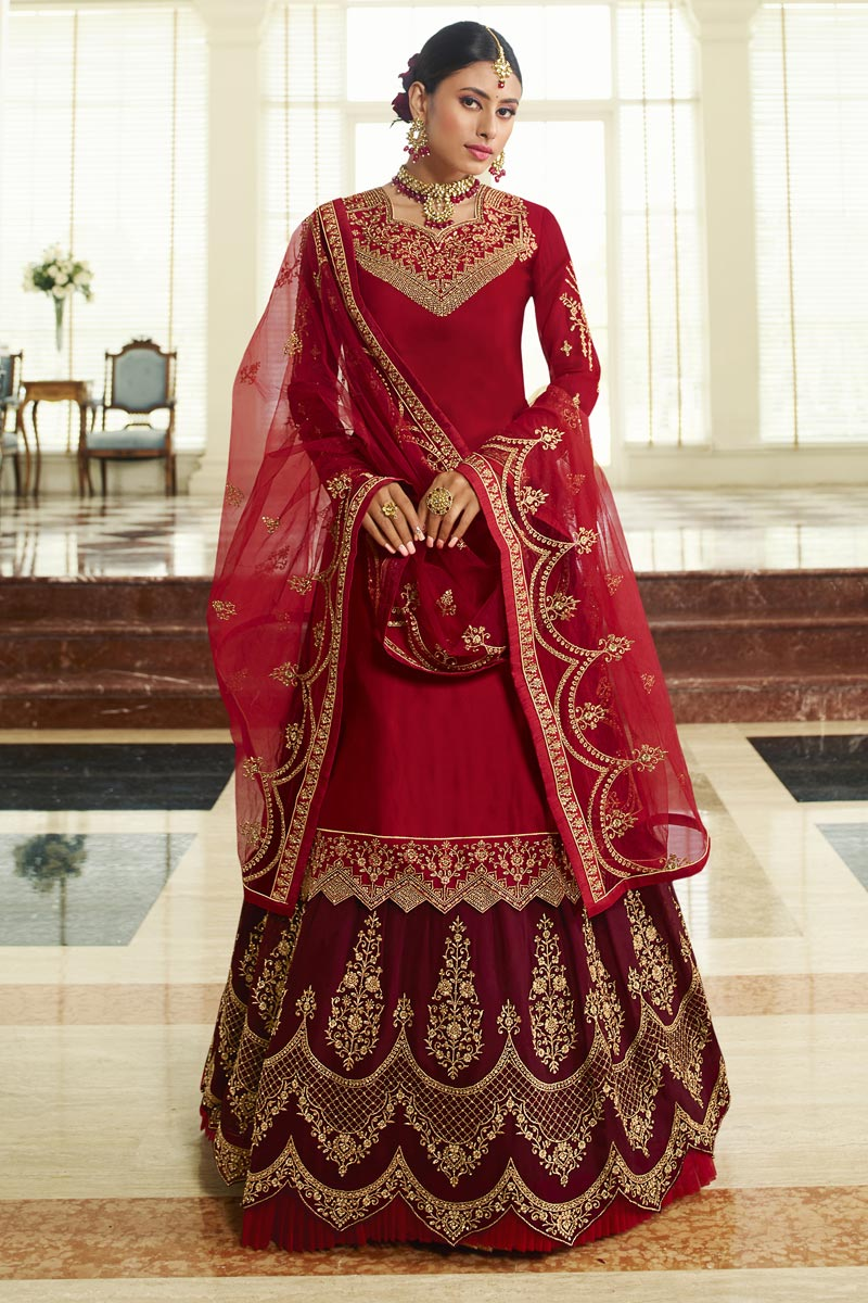 Designer Georgette Satin Fabric Embroidered Sangeet Wear Sharara Top Lehenga In Red Color