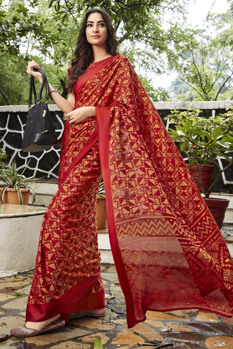 Red Brasso Fabric Casual Party Style Fancy Printed Saree