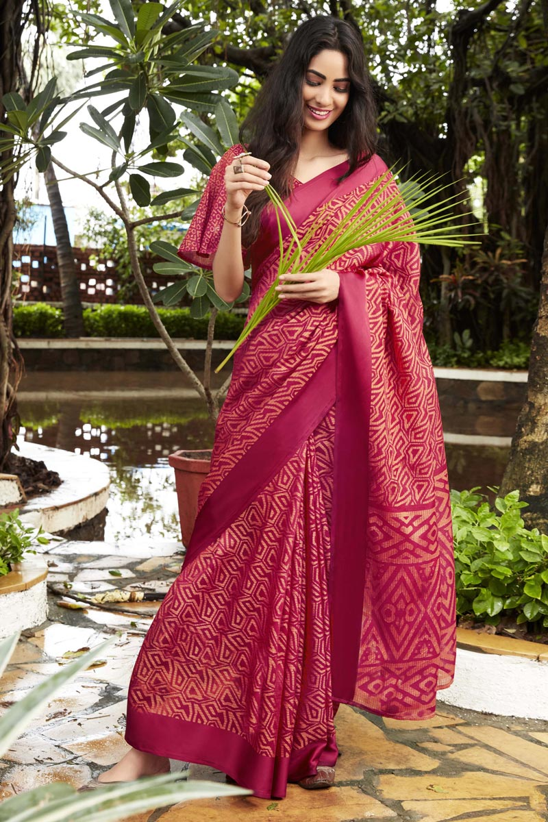 Brasso Fabric Casual Party Style Red Fancy Printed Saree