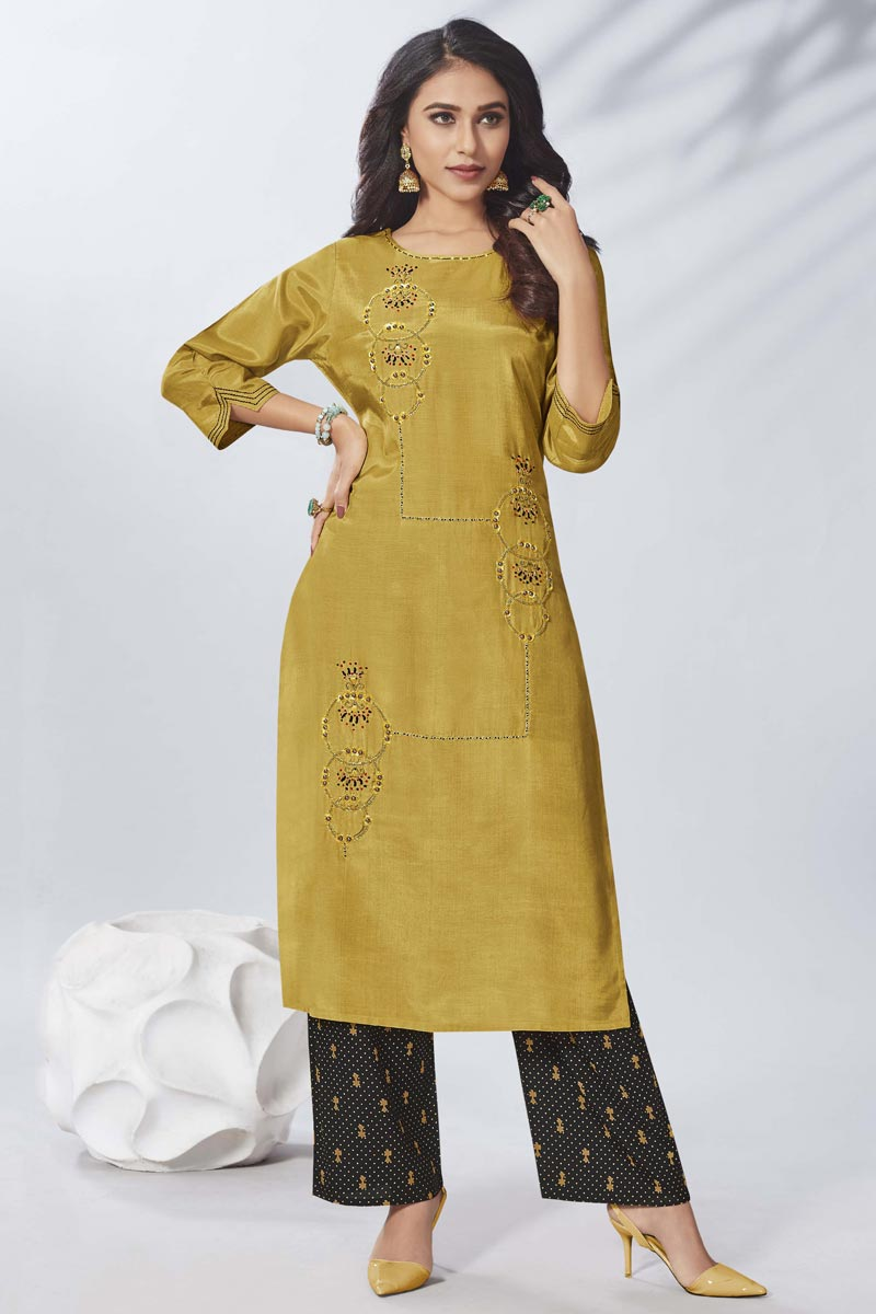Mustard Thread Embroidered Viscose Fabric Party Wear Kurti With Bottom