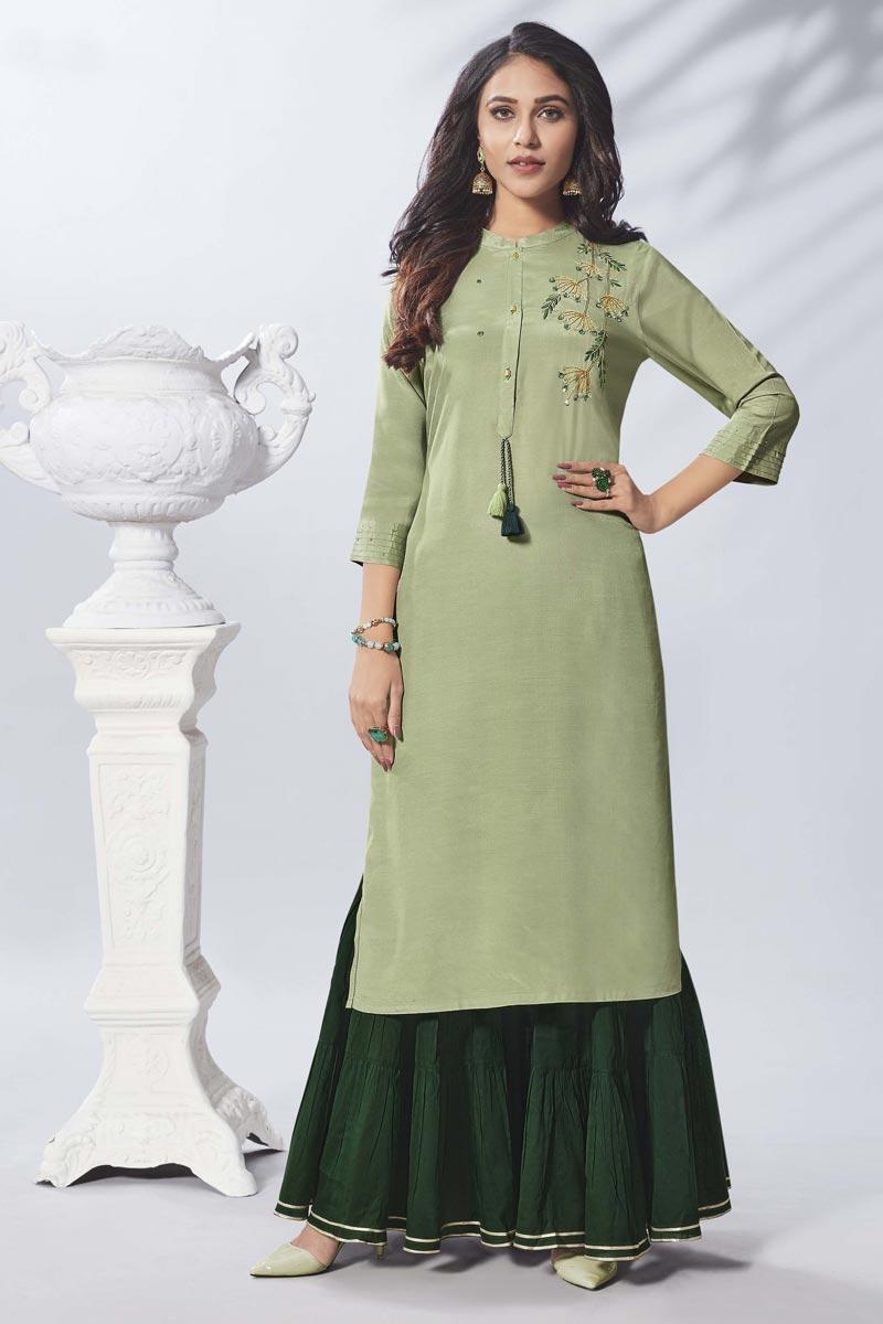 Viscose Fabric Sea Green Thread Embroidered Party Wear Kurti With Sharara