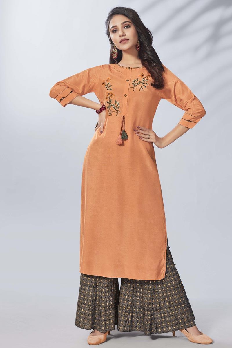 Party Wear Orange Thread Embroidered Viscose Fabric Kurti With Sharara
