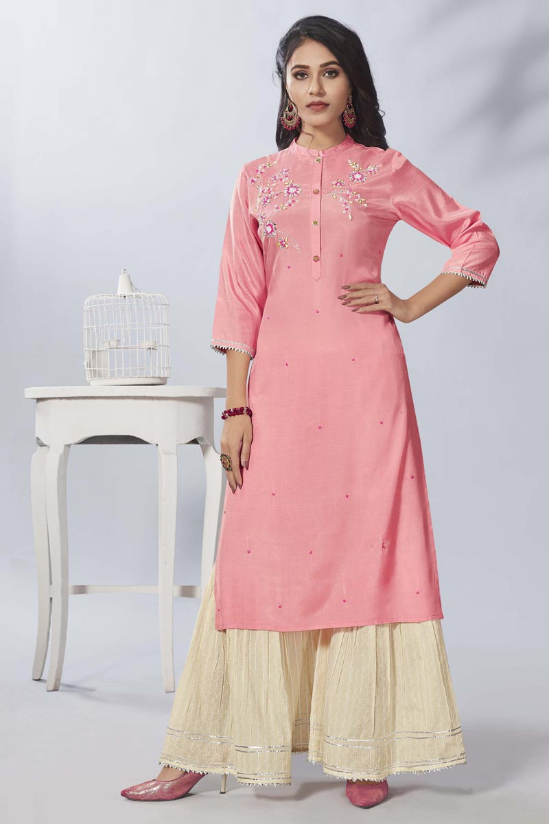 Pink Party Wear Thread Embroidered Kurti With Sharara In Viscose Fabric