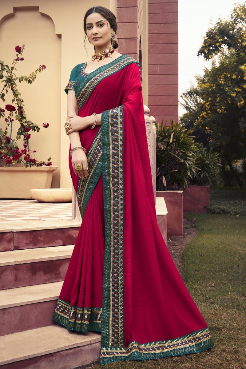 Chinon Fabric Puja Wear Rani Color Border Work Saree