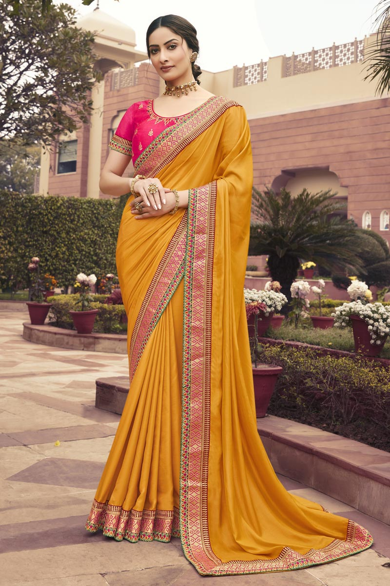 Art Silk Fabric Function Wear Mustard Color Border Work Saree