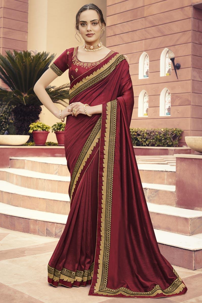 Function Wear Maroon Color Art Silk Fabric Border Work Saree