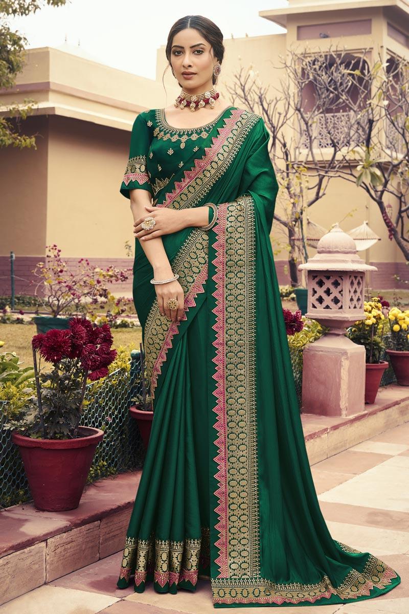 Festive Wear Art Silk Fabric Border Work Saree In Green Color