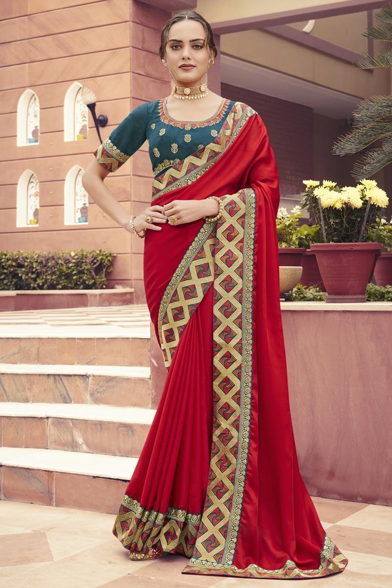 Red Color Festive Wear Art Silk Fabric Border Work Saree