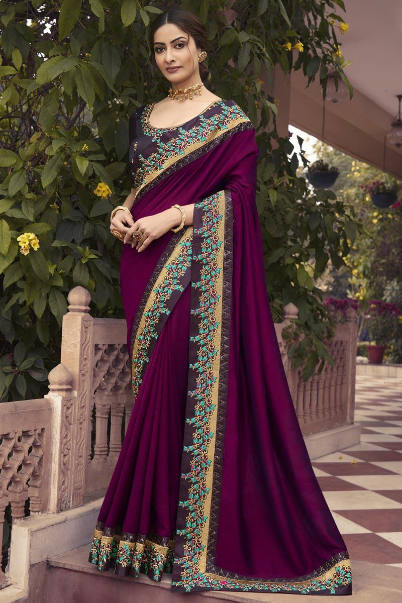 Art Silk Fabric Party Wear Purple Color Border Work Saree