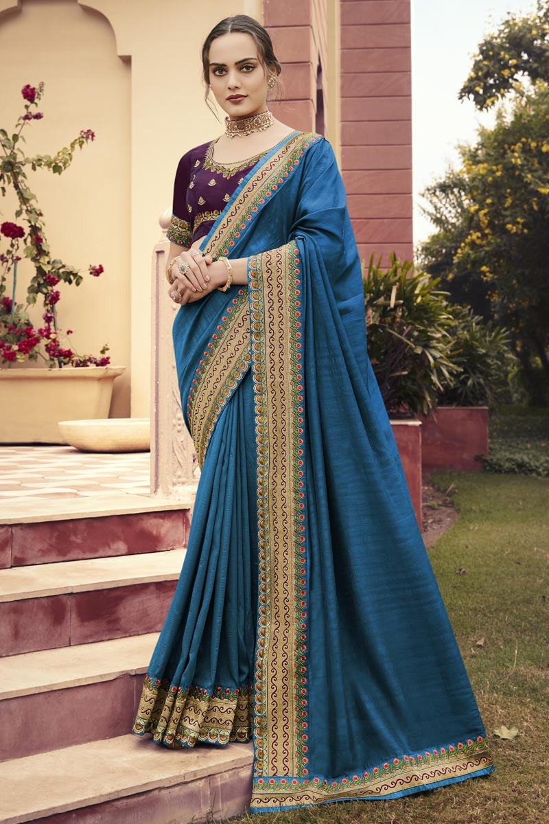 Sky Blue Color Puja Wear Art Silk Fabric Border Work Saree