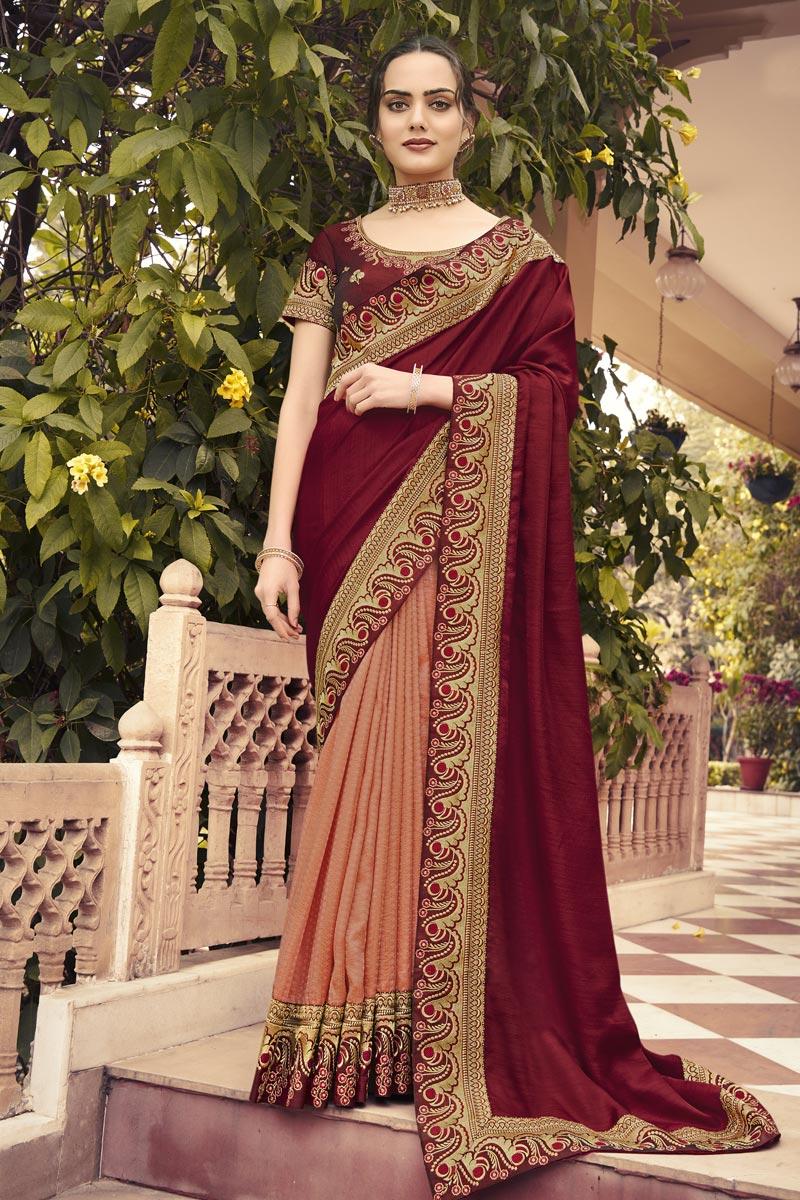 Art Silk Fabric Sangeet Wear Peach Color Border Work Saree