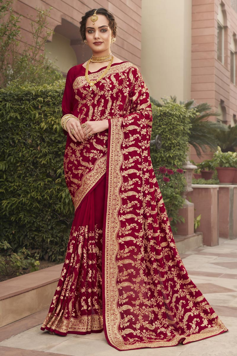Art Silk Fabric Party Wear Fancy Saree With Embroidery Work