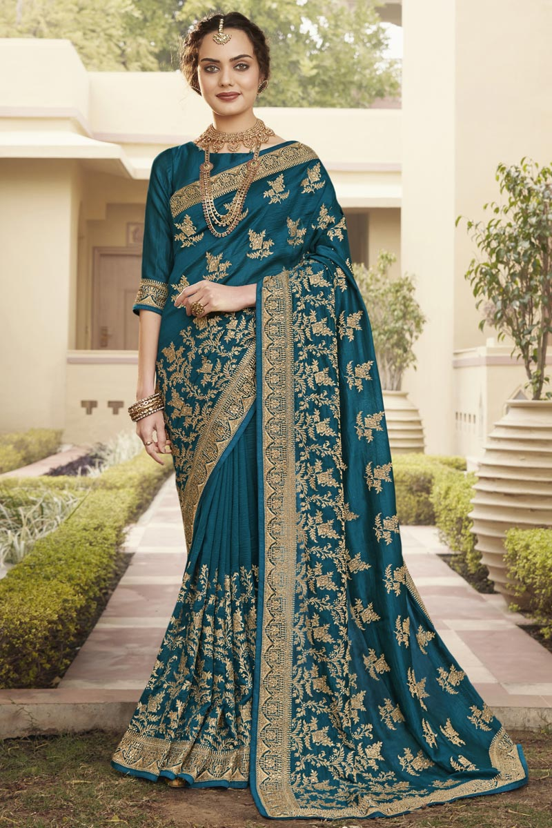 Art Silk Fabric Function Wear Trendy Saree In Teal Color