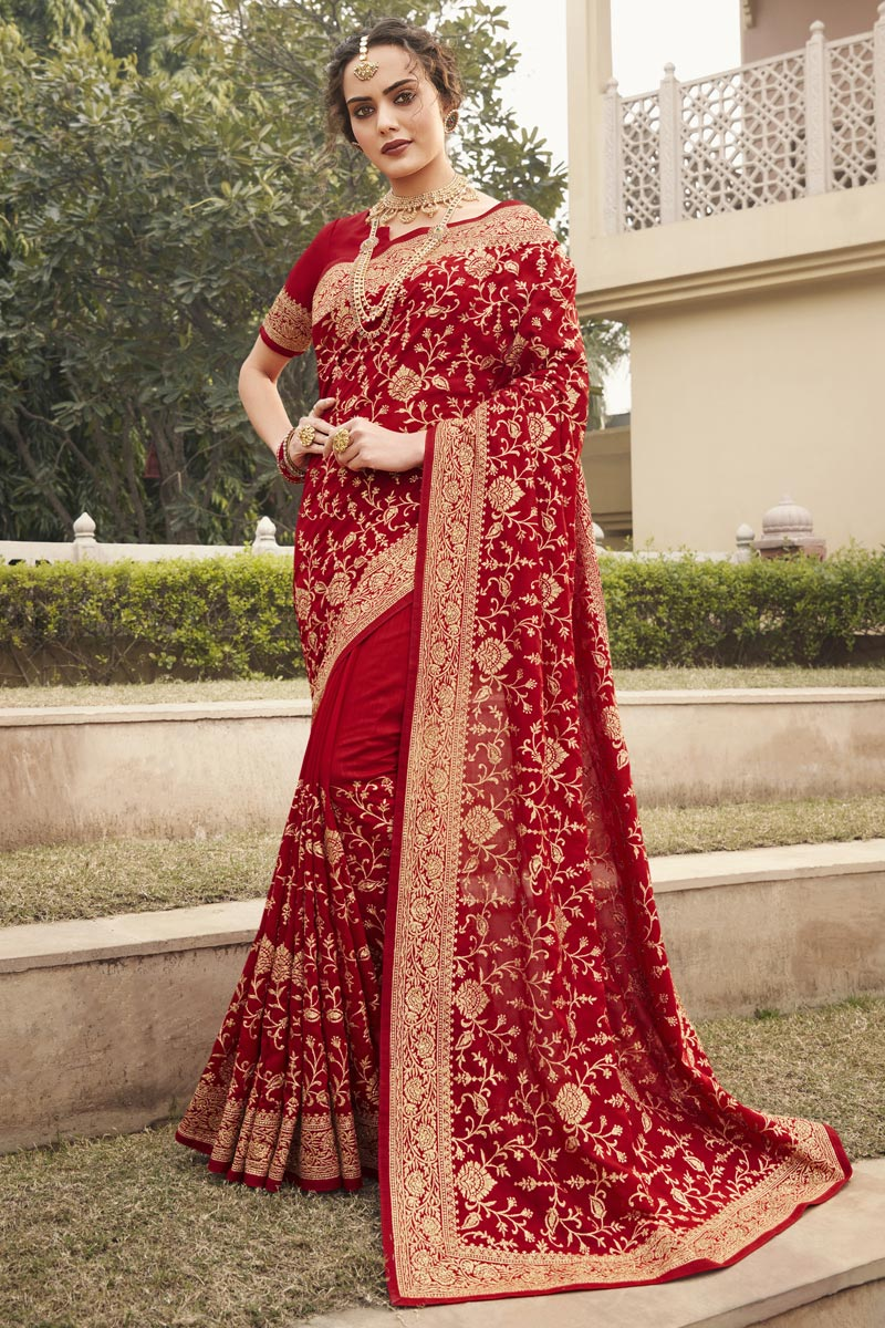 Party Wear Stylish Saree In Red Color Art Silk Fabric