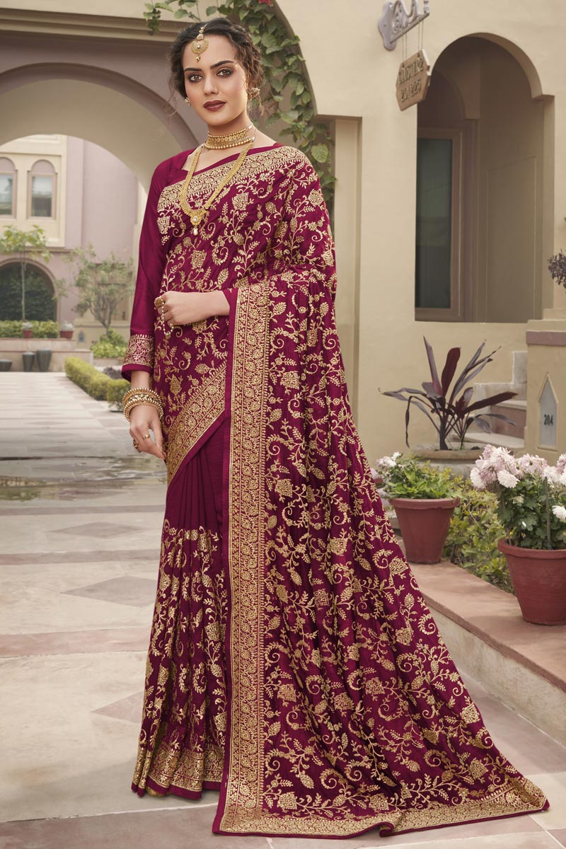 Wine Color Art Silk Fabric Party Wear Designer Saree With Embroidery Work