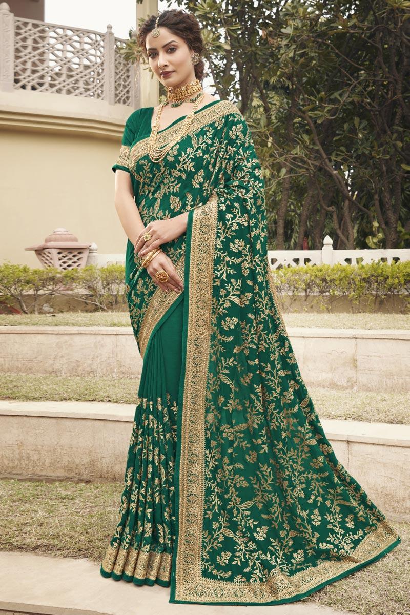 Art Silk Fabric Green Color Party Wear Fancy Saree