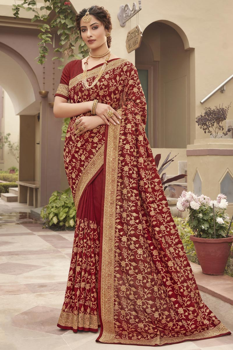 Art Silk Fabric Party Wear Rust Color Trendy Saree