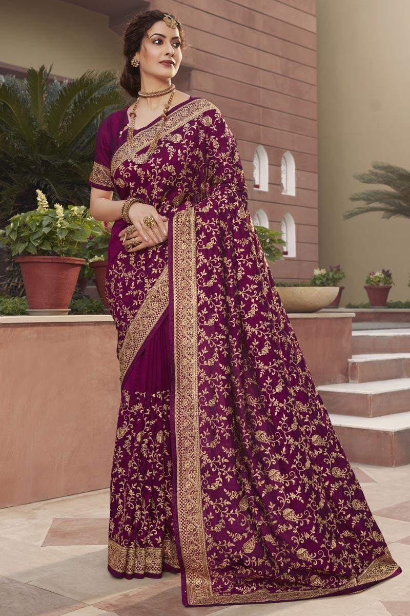 Art Silk Fabric Party Wear Fancy Purple Color Saree