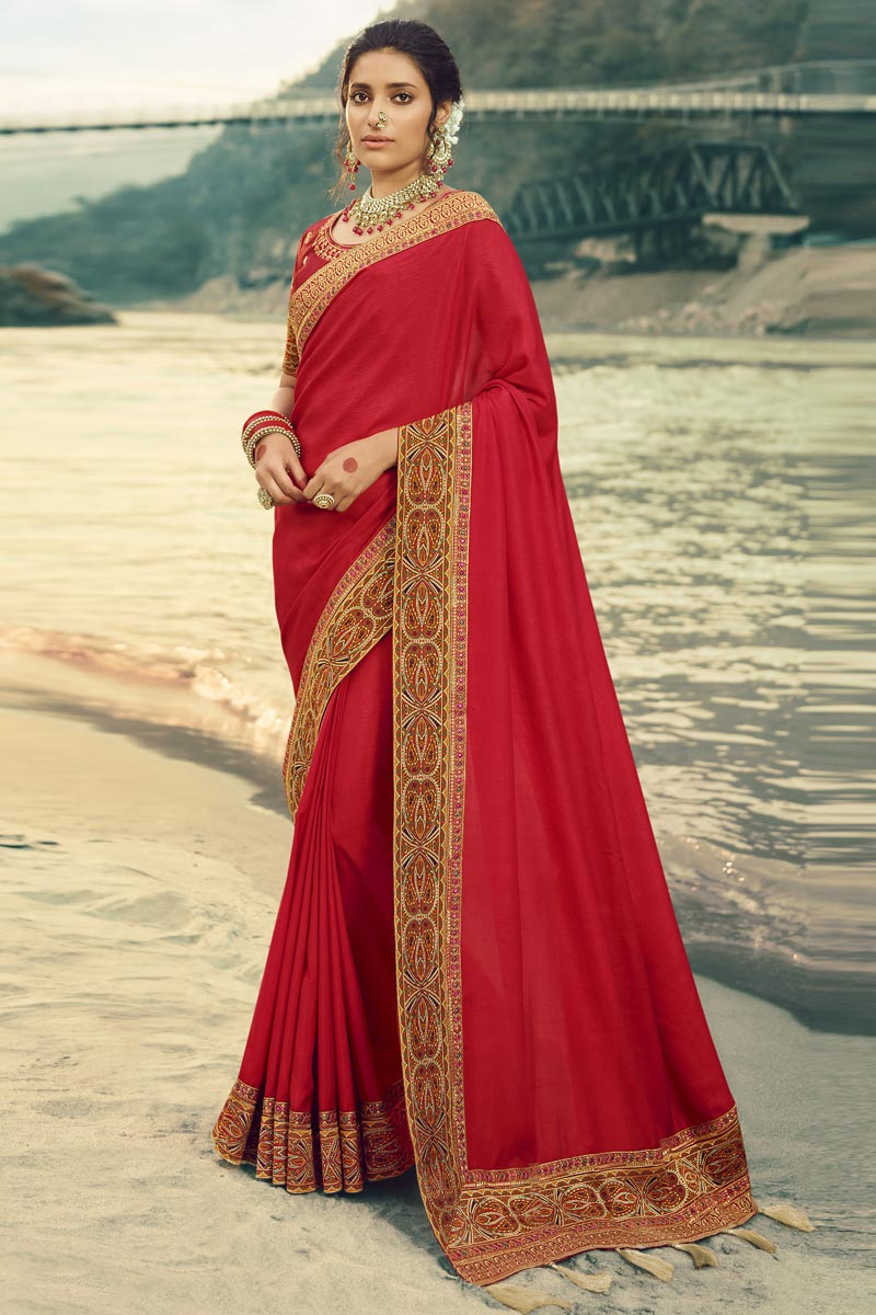 Art Silk Fabric Party Wear Border Work Saree In Red Color