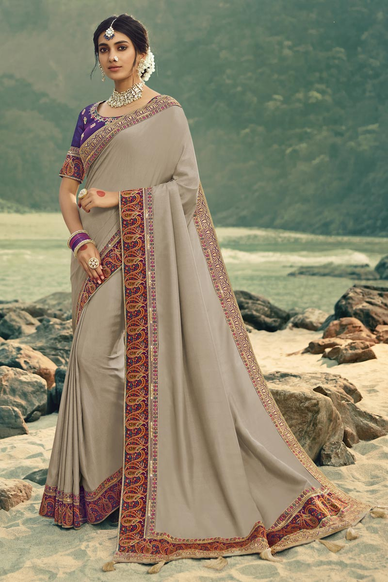 Dark Beige Color Art Silk Fabric Festive Wear Border Work Saree