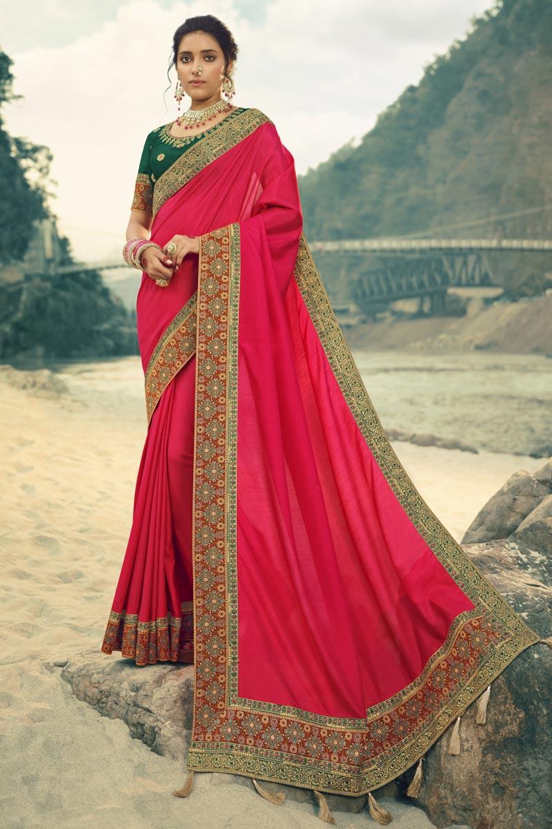 Rani Color Art Silk Fabric Function Wear Border Work Saree