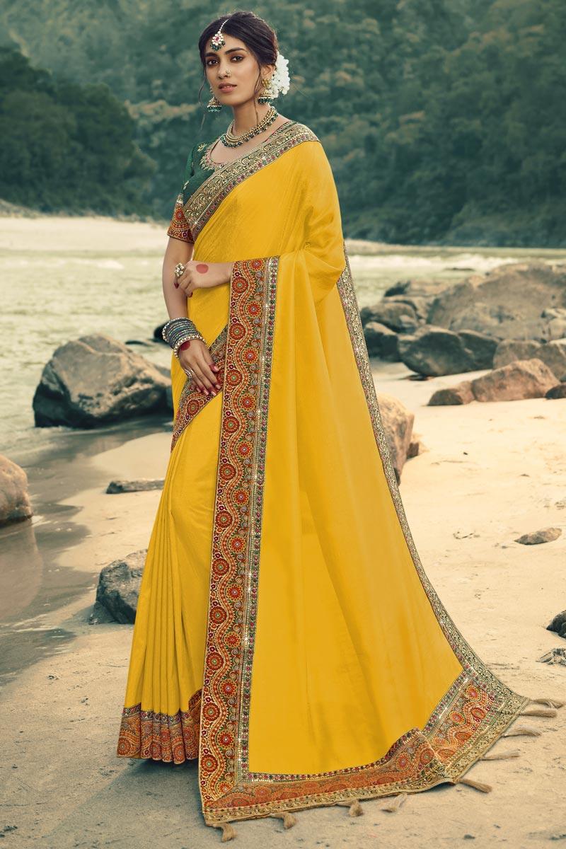 Art Silk Fabric Designer Border Work Saree In Yellow Color