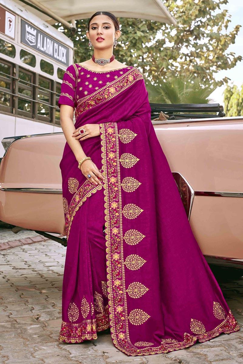 Magenta Color Art Silk Fabric Festive Wear Embroidery Work Saree