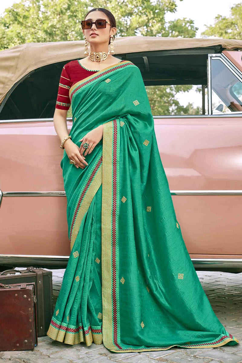 Light Turquoise Color Traditional Embroidery Work Saree In Art Silk Fabric