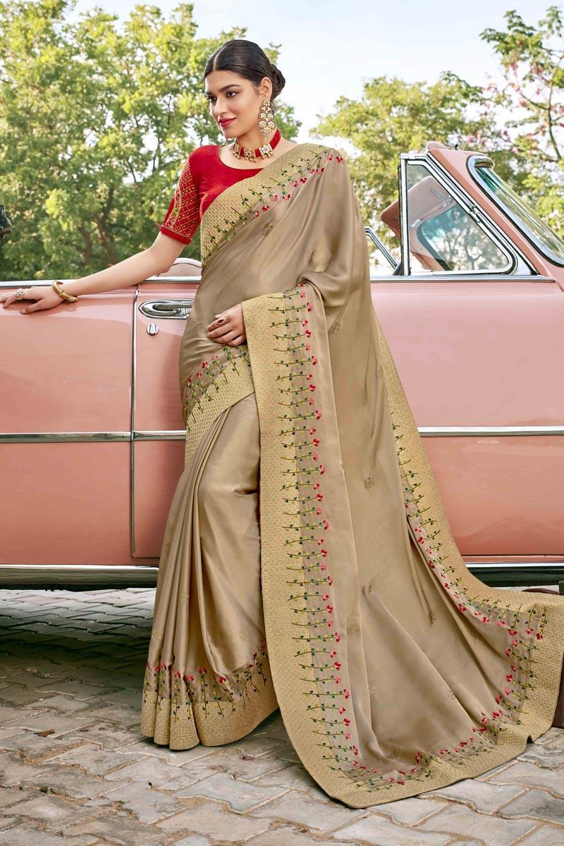 Cream Color Satin Silk Fabric Function Wear Embroidery Work Saree