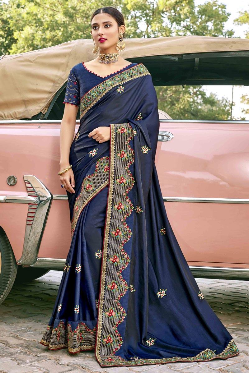Satin Silk Fabric Navy Blue Color Designer Embroidery Work Saree