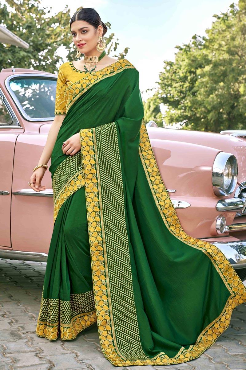 Art Silk Fabric Designer Embroidery Work Saree In Dark Green Color