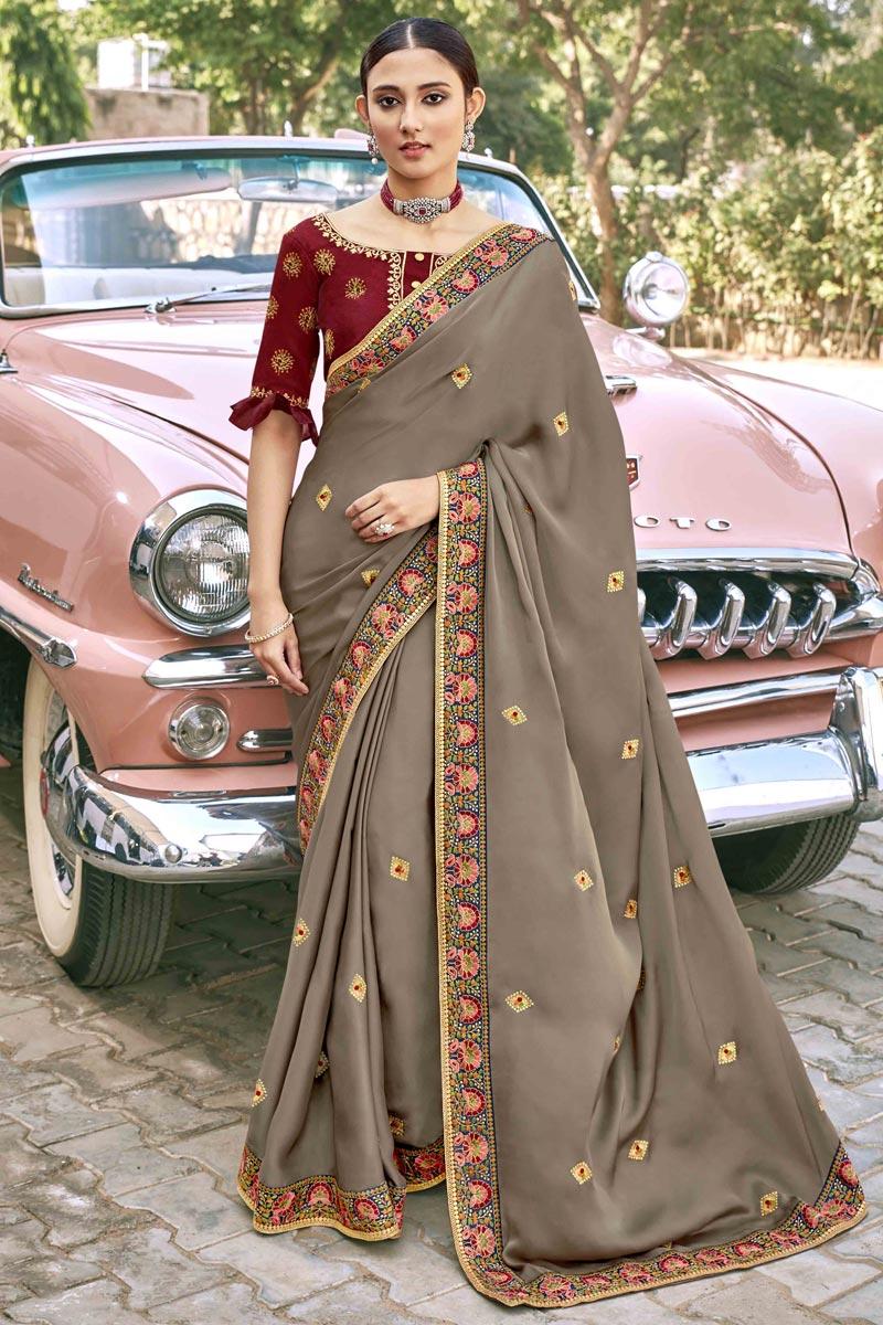 Designer Dark Beige Color Satin Silk Fabric Party Wear Embroidery Work Saree