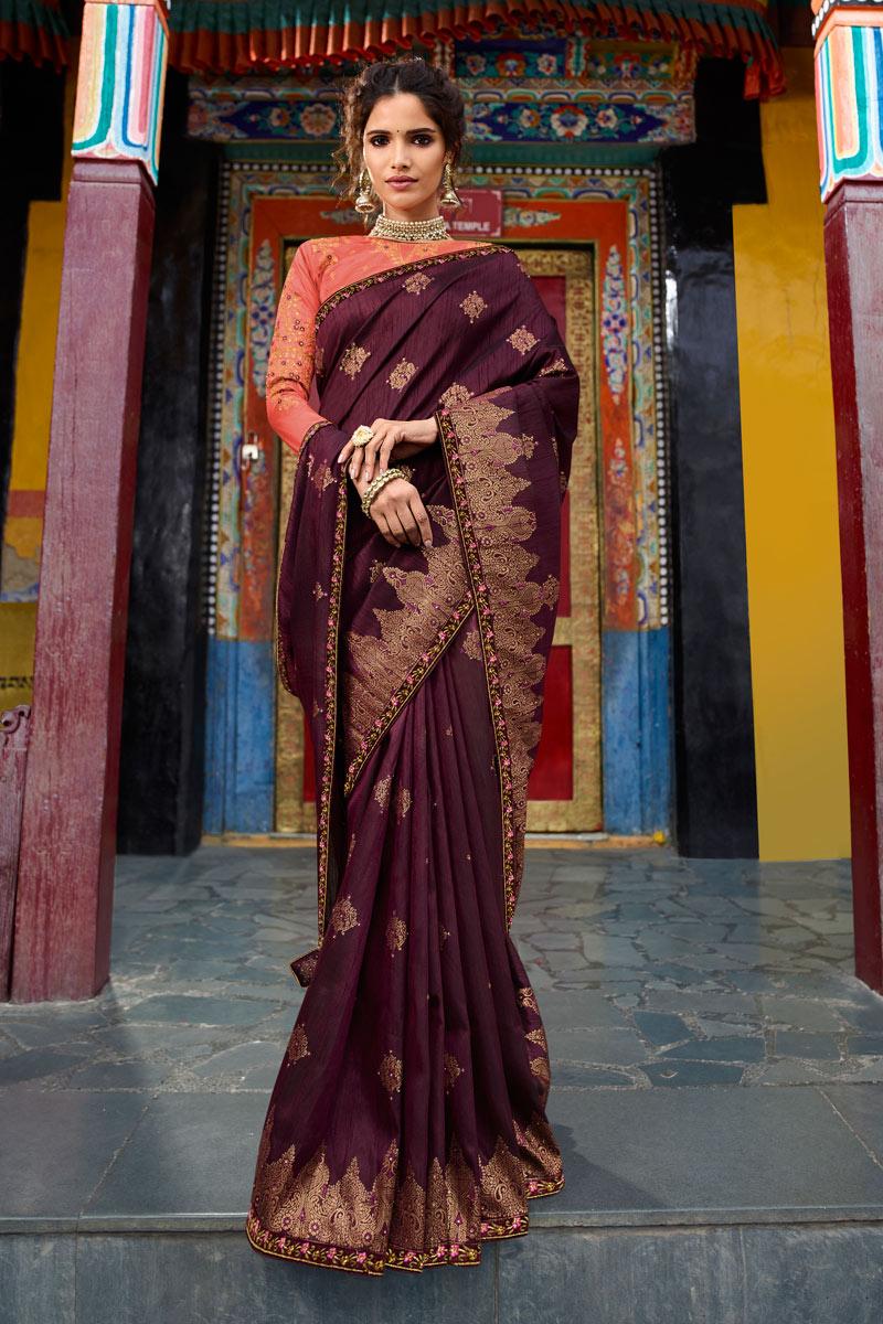 Embroidery Work Designer Saree In Art Silk Fabric