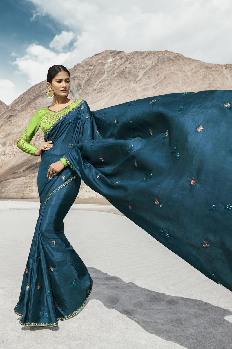 Beguiling Embroidered Art Silk Party Style Designer Saree In Teal
