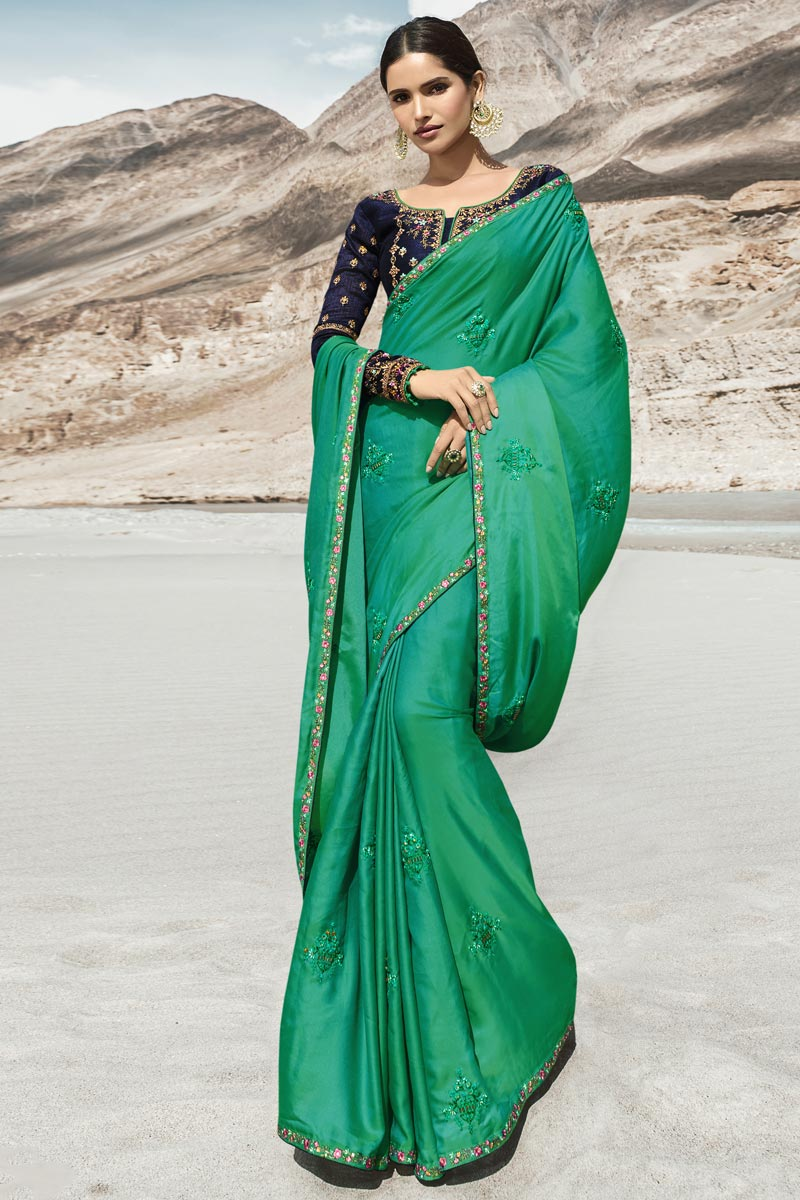 Eid Special Beguiling Cyan Party Style Designer Embroidered Saree In Art Silk