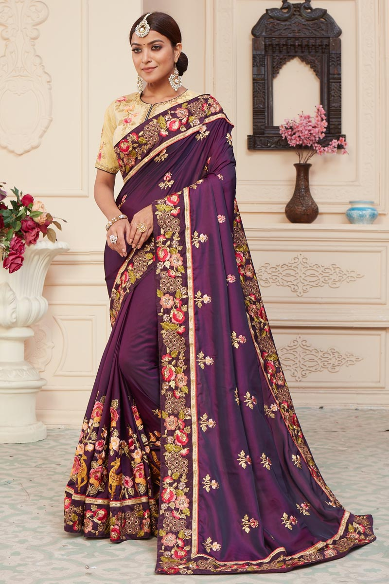Purple Color Function Wear Art Silk Fabric Alluring Embroidered Saree